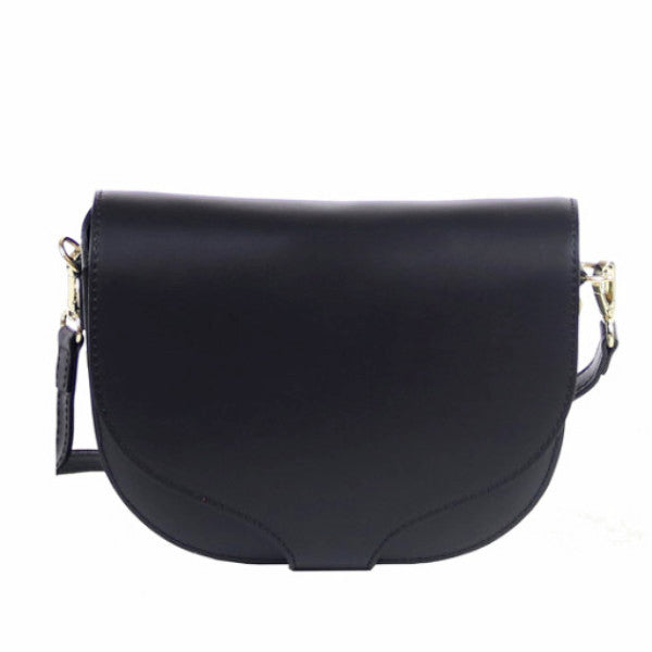 Gina black leather crossbody bag - ELEARIA