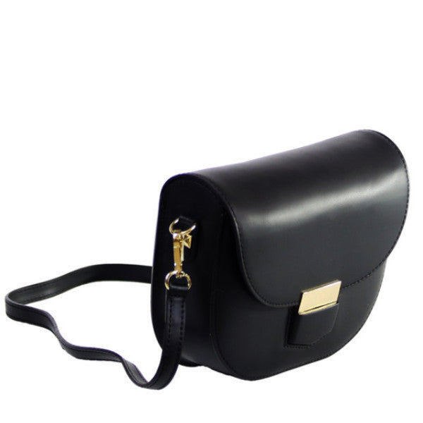 Lia black leather crossbody bag - ELEARIA