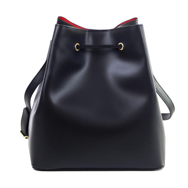 Adrianna black leather bucket bag - ELEARIA