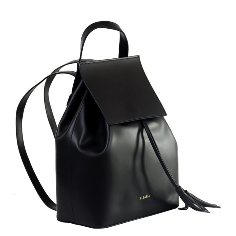 Gia black leather backpack - ELEARIA