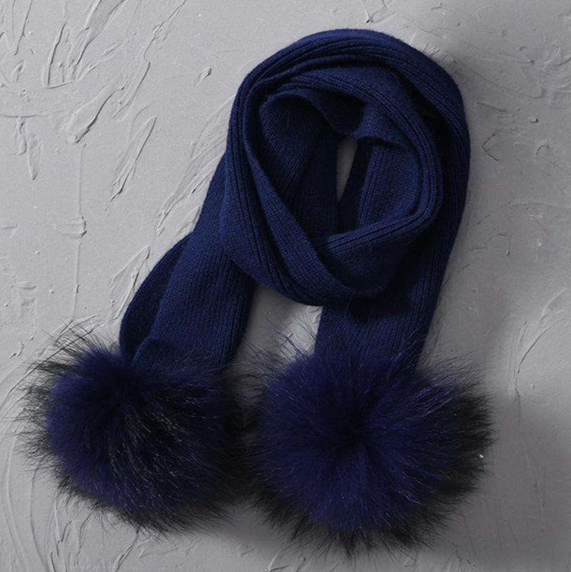 Children's Fur Pom Pom Knit Scarf (7 Colours)