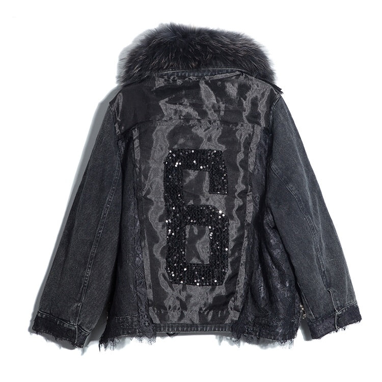 DENIM RACCOON FUR COLLAR COAT