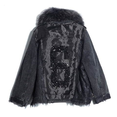 BLACK AND SILVER REVERSIBLE DOWN COAT WITH FOX FUR HOOD