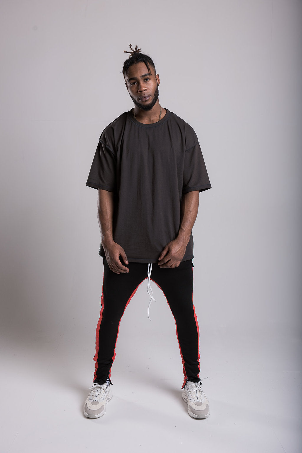 Panel Track Pants - Black/Red