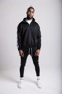 Tape Zip Track Top - Black