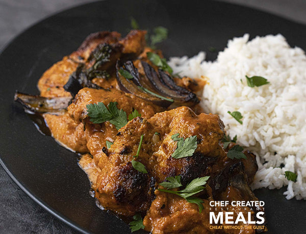 Chicken Tikka Makhani with charred chicken thigh spiced tomato butter sauce and red onions for sale - Parson's Nose