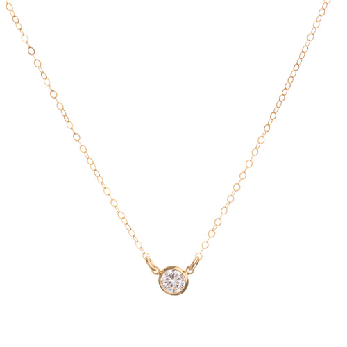 Minimal Gold CZ Diamond Necklace