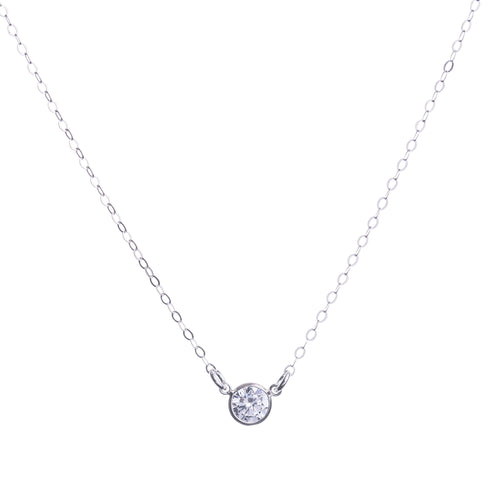 Minimal Sterling Silver CZ Diamond Necklace