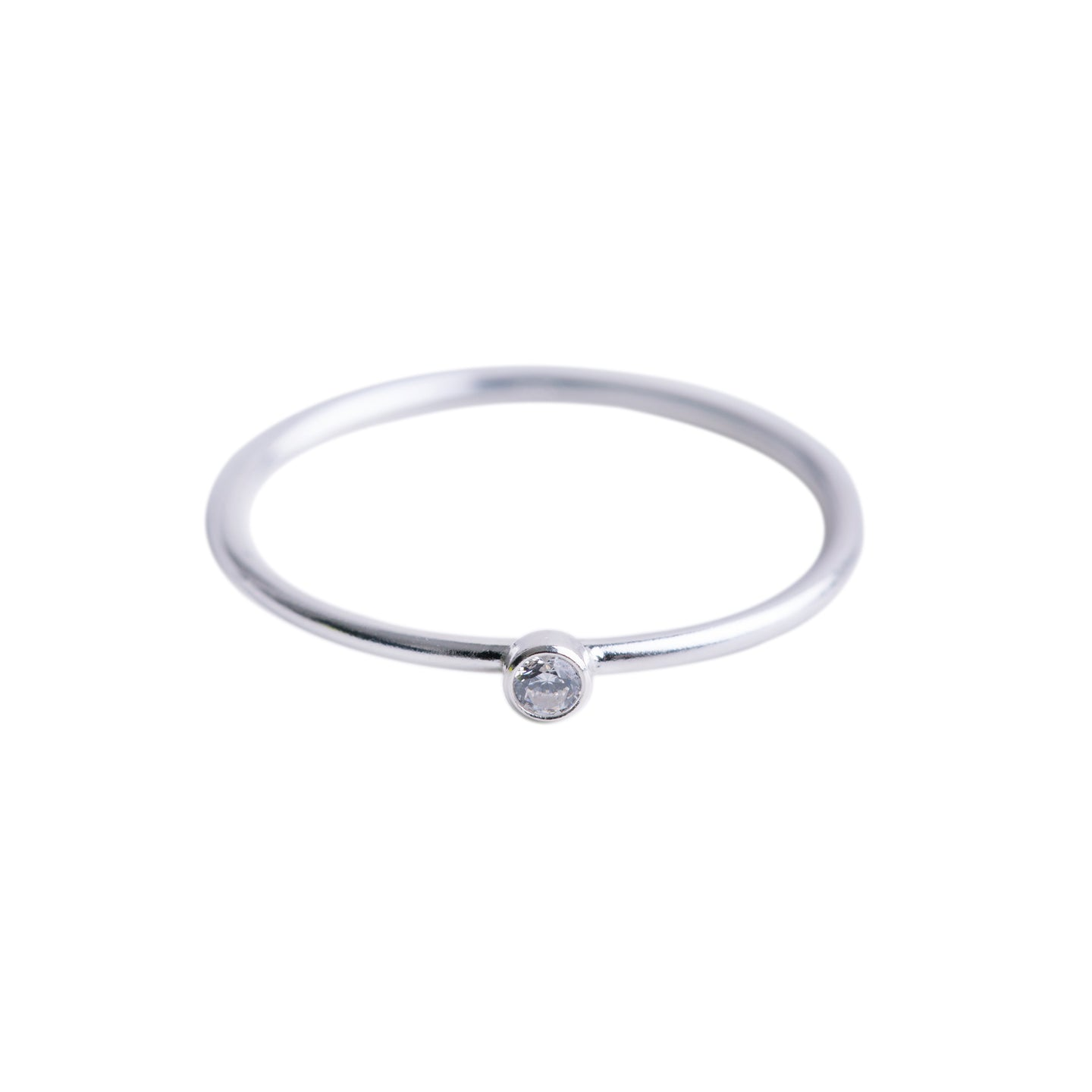 Minimal Silver CZ Diamond Ring