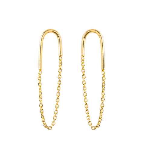 Minimal Gold Arc Chain Earrings