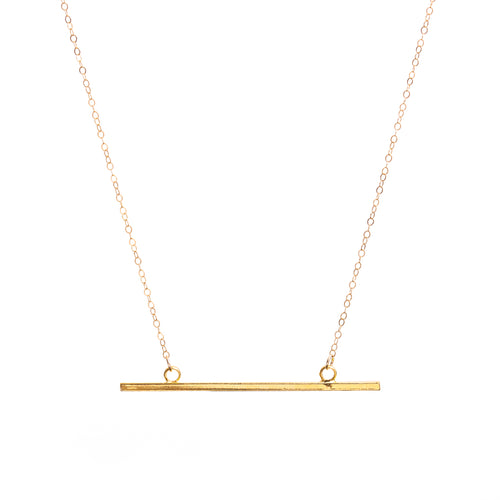 Minimal Gold Horizontal Bar Necklace