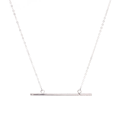Minimal Silver Horizontal Bar Necklace