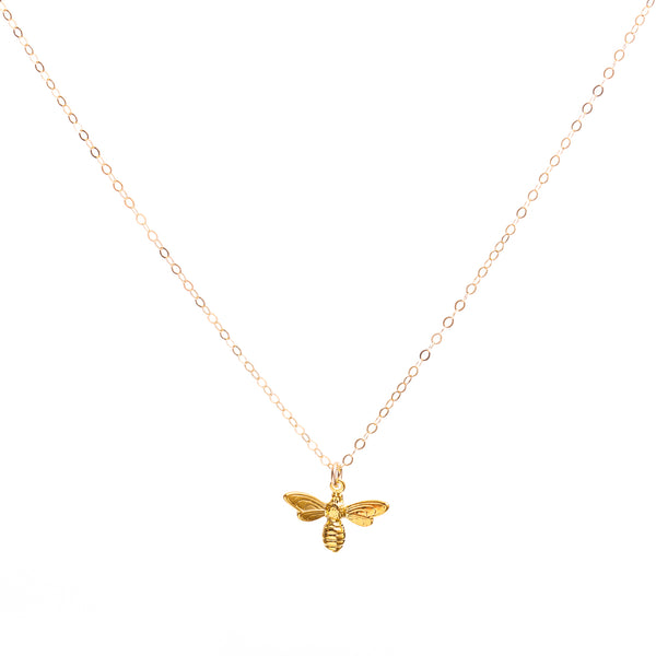 Minimal Gold Bee Necklace Handmade UK