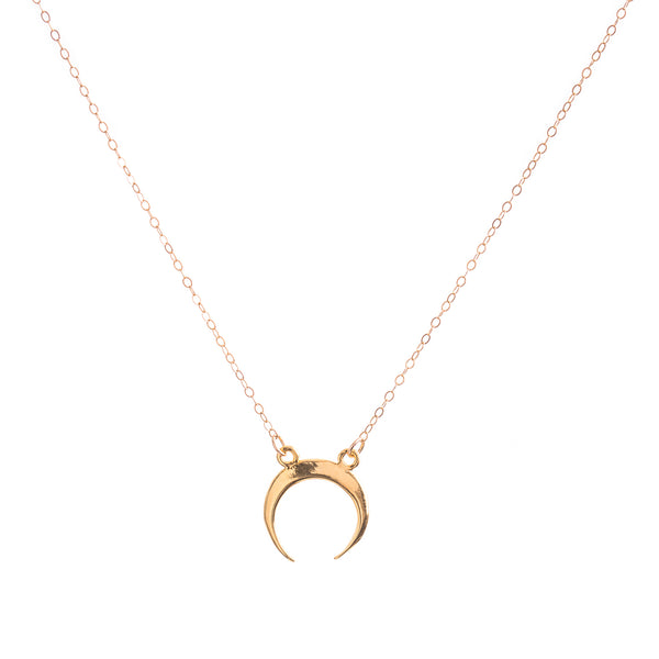 18k Gold Crescent Horn Necklace