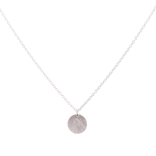 Minimal Silver Etched Medallion Necklace