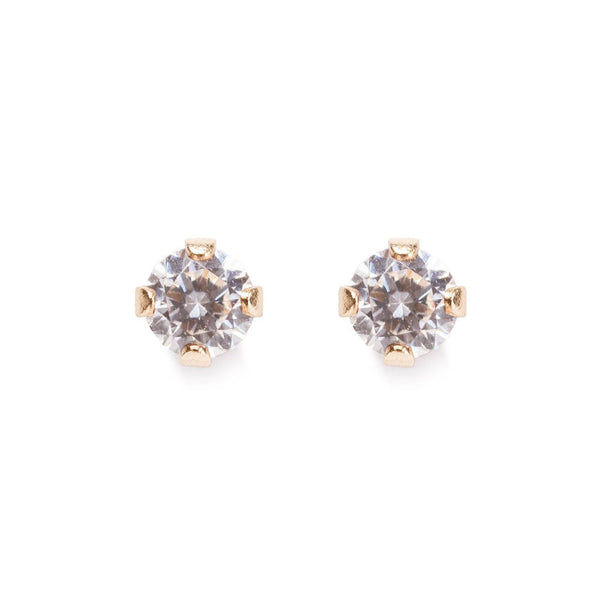 14k Gold Diamond Solitaire Studs