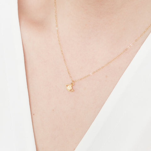 Minimal Gold Evil Eye Necklace