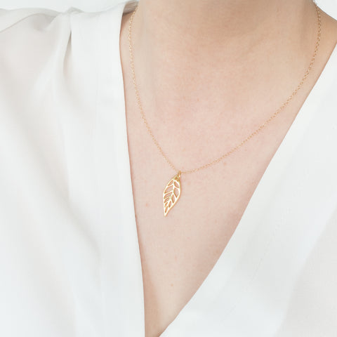 Minimal Leaf Necklace Handmade UK Gold