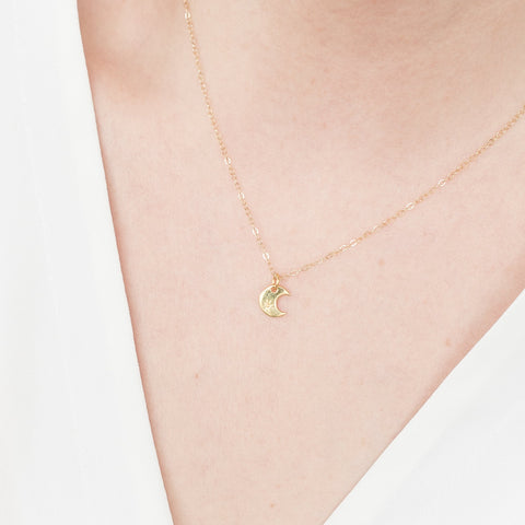 Minimal Gold Crescent Moon Necklace