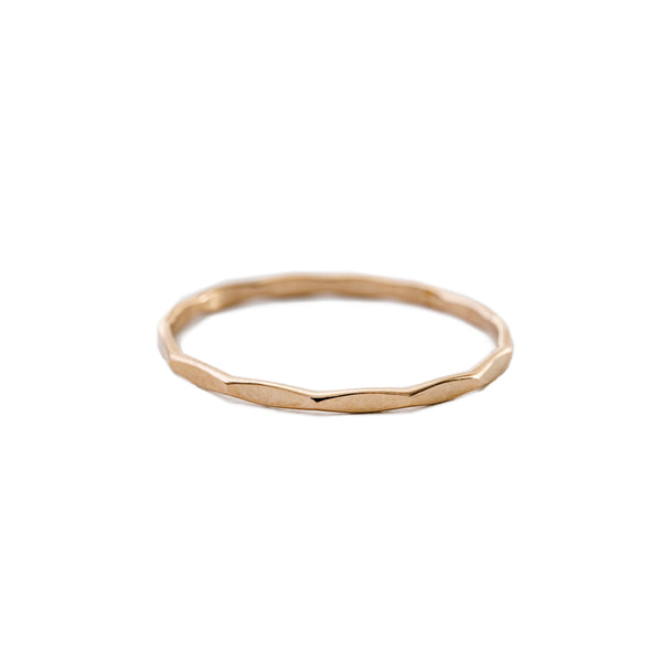Minimal Thin Hammered Stacking Ring Gold