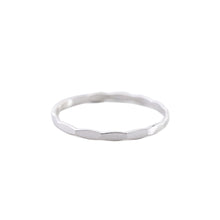 Load image into Gallery viewer, Minimal Silver Hammered Stacking Ring