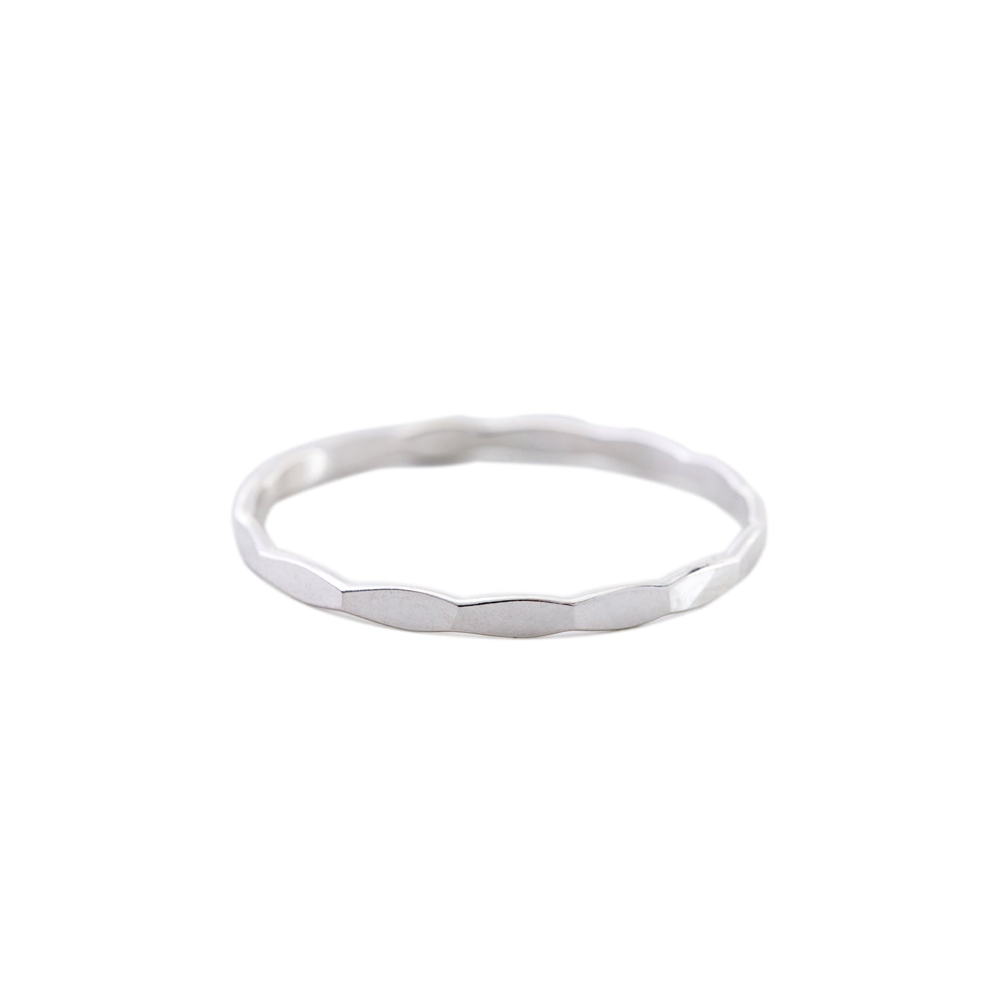 Minimal Silver Hammered Stacking Ring