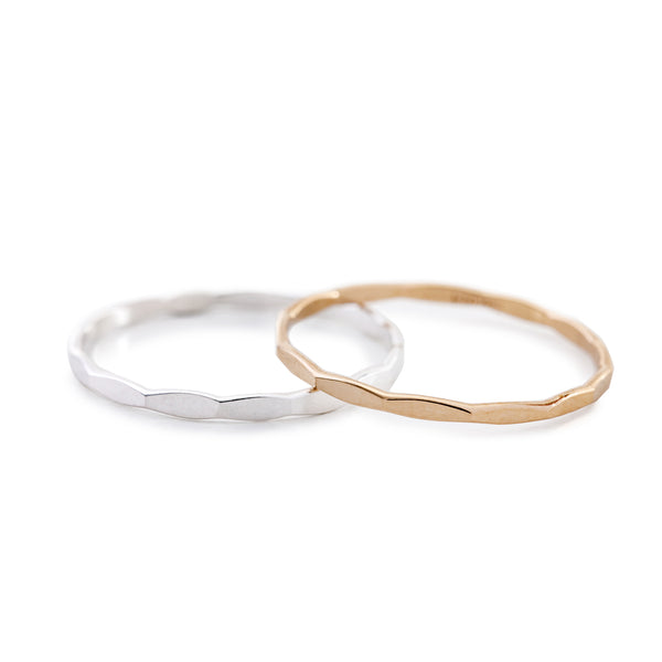 Minimal Thin Hammered Stacking Ring Silver