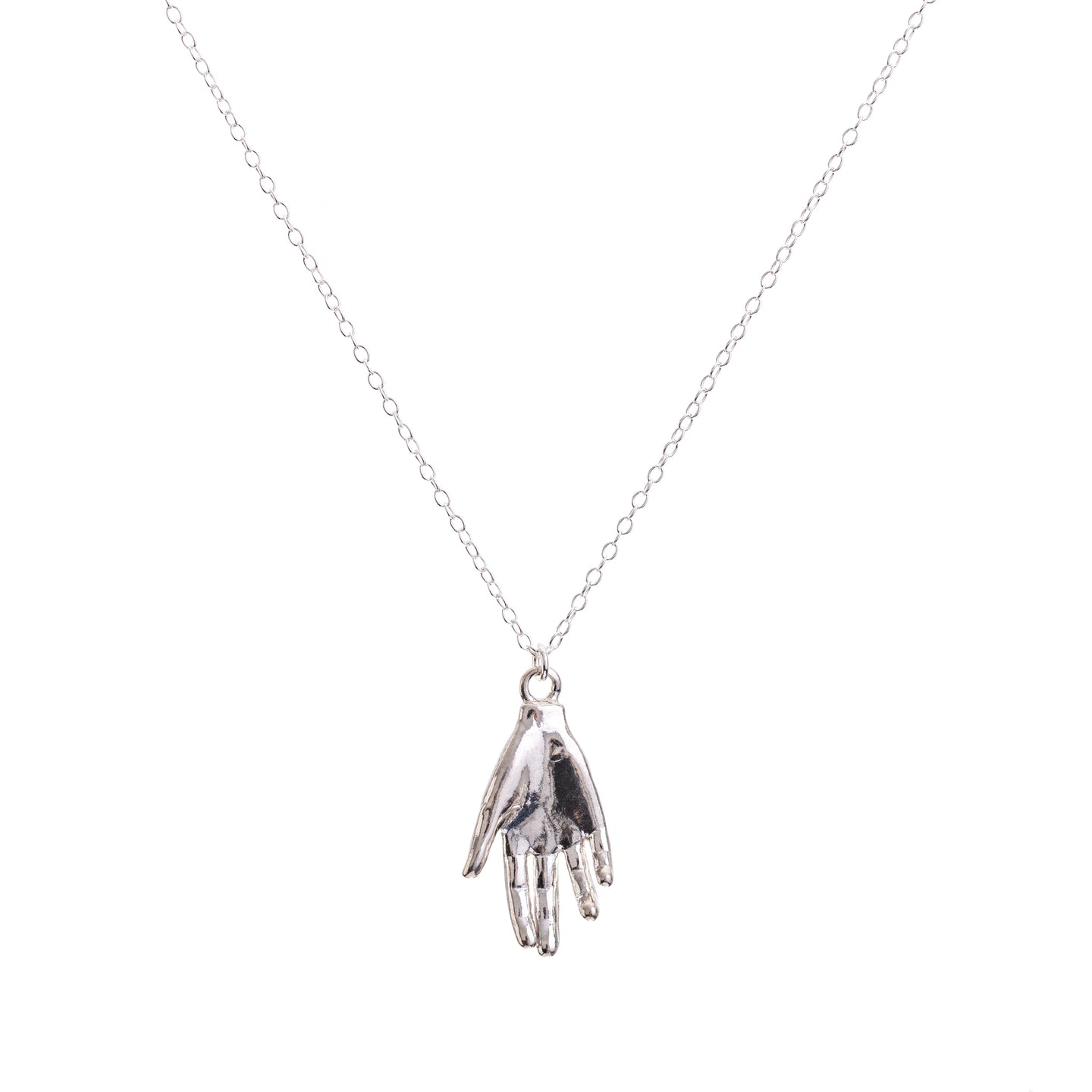 Minimal Silver Protective Hand Necklace