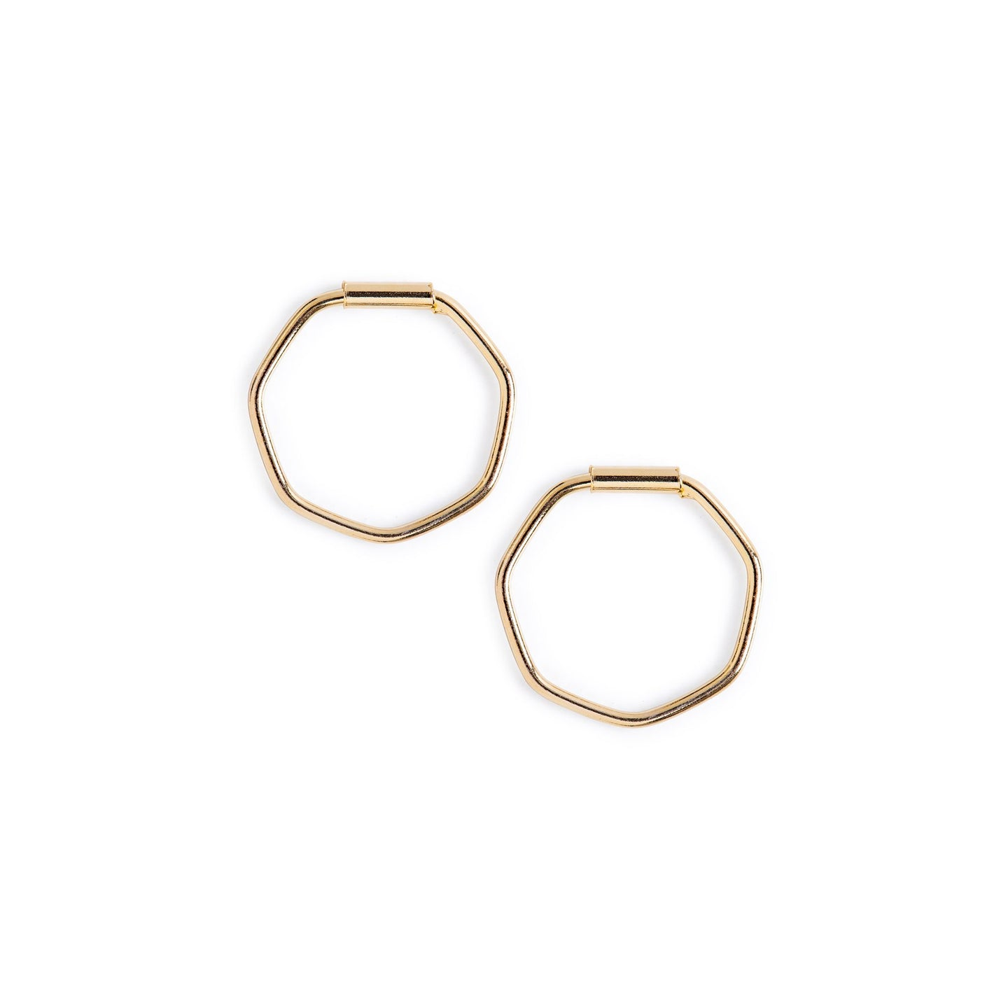 Minimal Gold Hexagon Hoop Earrings