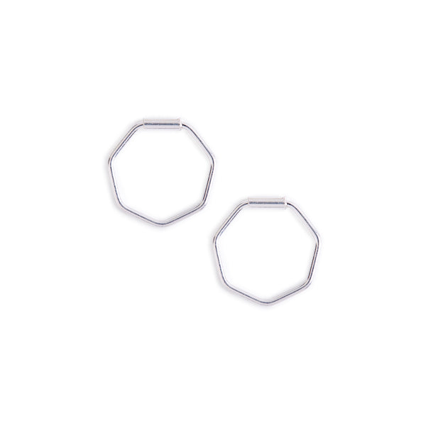 Minimal Silver Hexagon Hoop Earrings