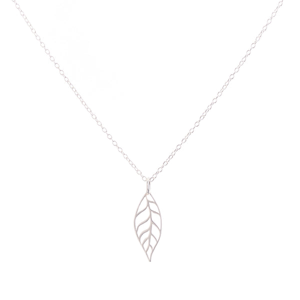 Minimal Leaf Necklace Handmade UK Silver