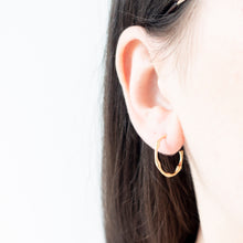 Load image into Gallery viewer, Minimal Gold Bamboo Hoop Earrings