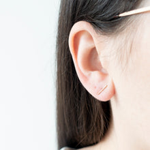 Load image into Gallery viewer, Minimal Silver Bar Stud Earrings