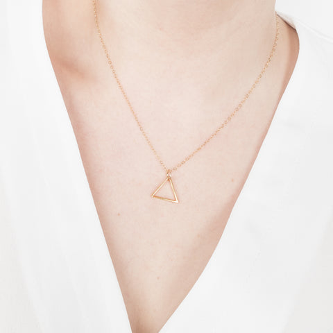 Minimal Triangle Necklace Handmade UK