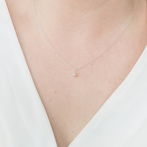 Minimal Ball Necklace Handmade UK Silver