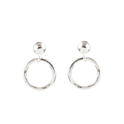 Minimal Silver Circle Earrings