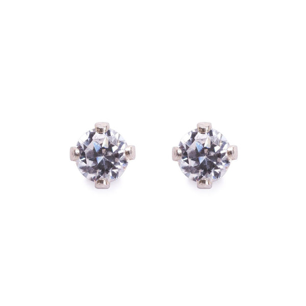 Sterling Silver Diamond Solitaire Studs