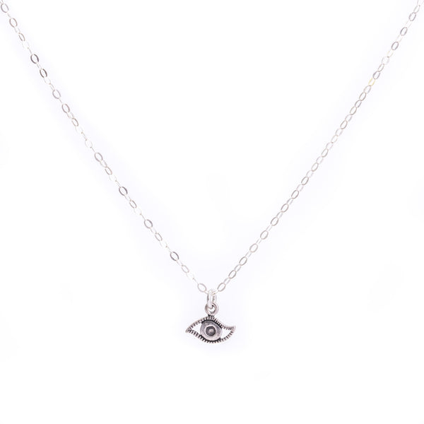 Minimal Sterling Silver Evil Eye Necklace