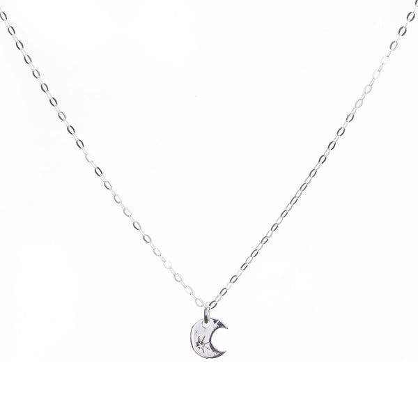 Minimal Sterling Silver Crescent Moon Necklace