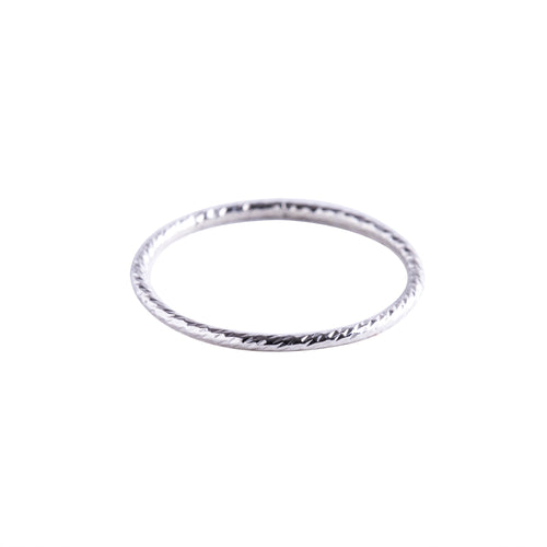 Minimal Silver Textured Stacking Ring