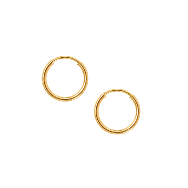 Minimal Small Gold Hoops Handmade UK