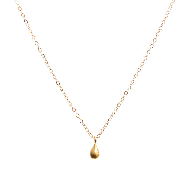 Minimal Gold Teardrop Necklace Handmade UK