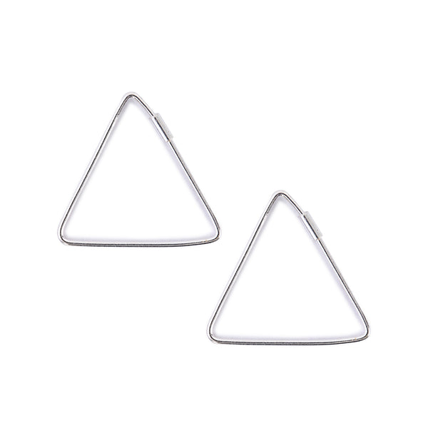 Minimal Triangle Earrings Hoops Silver