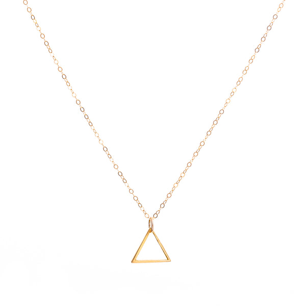 Minimal Gold Triangle Necklace Handmade UK