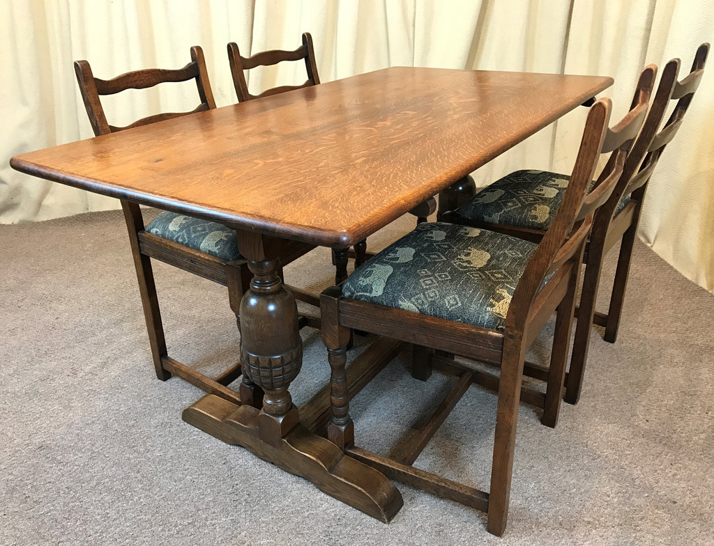 Oak Dining Table & Chairs - Refectory Table & 4 Ladder Back Chairs ...