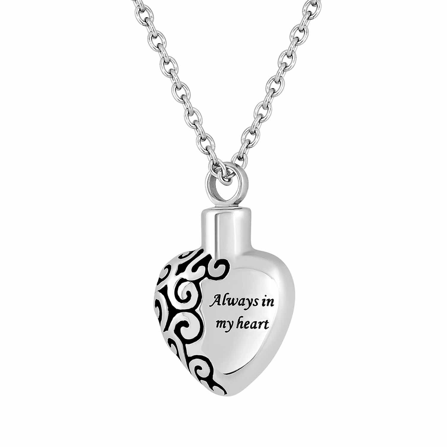 Always in My Heart Cremation Necklace that holds Cremated Ashes
