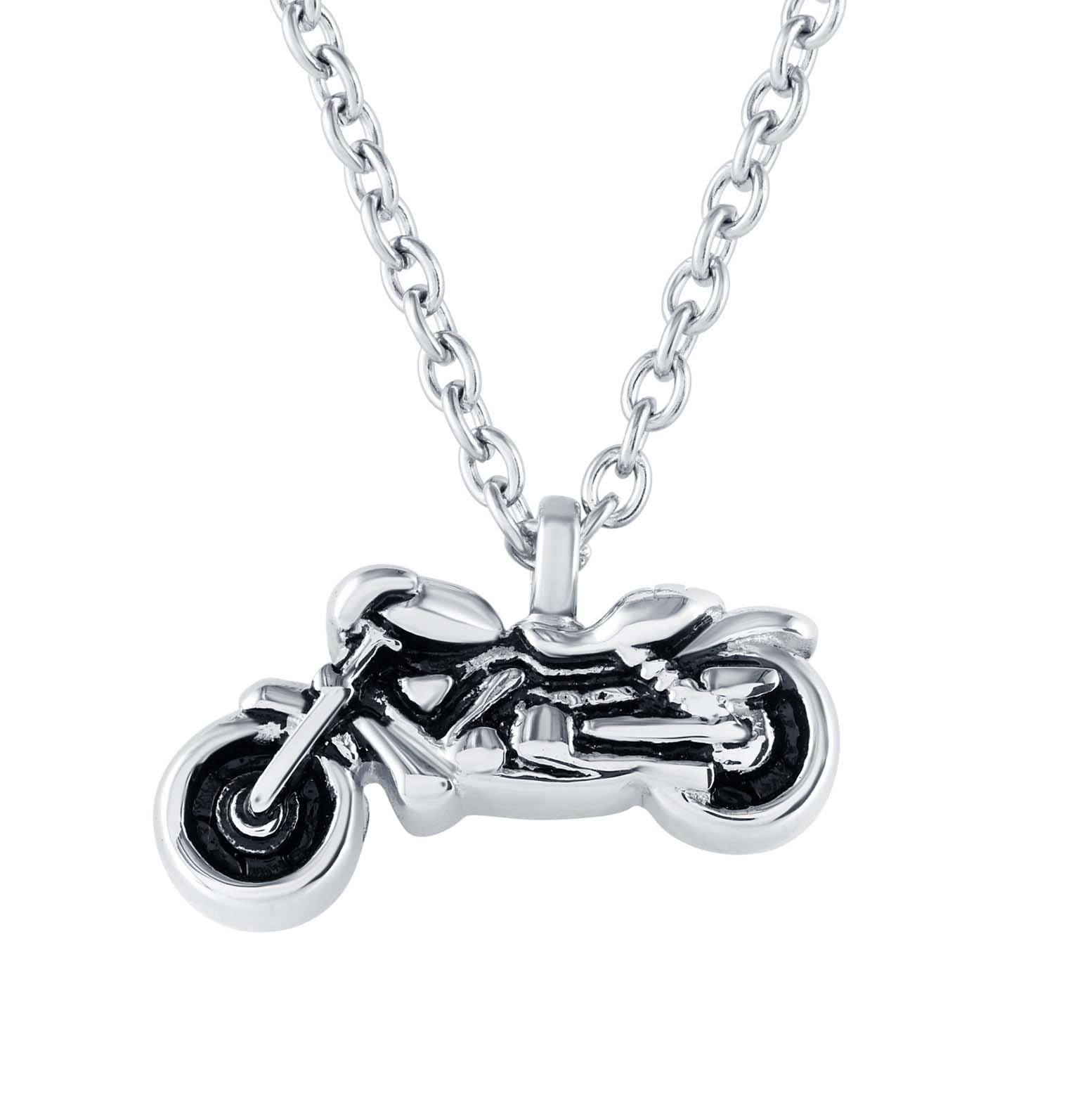 Motorcycle Cremation Necklace that holds Ashes
