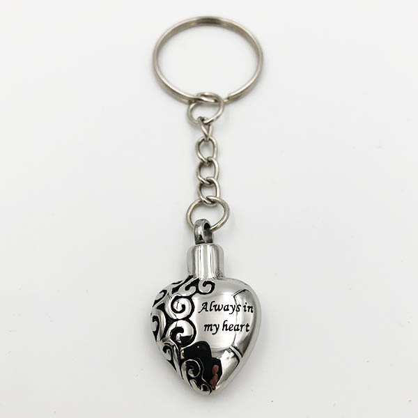 Always in my heart Cremation Keychain