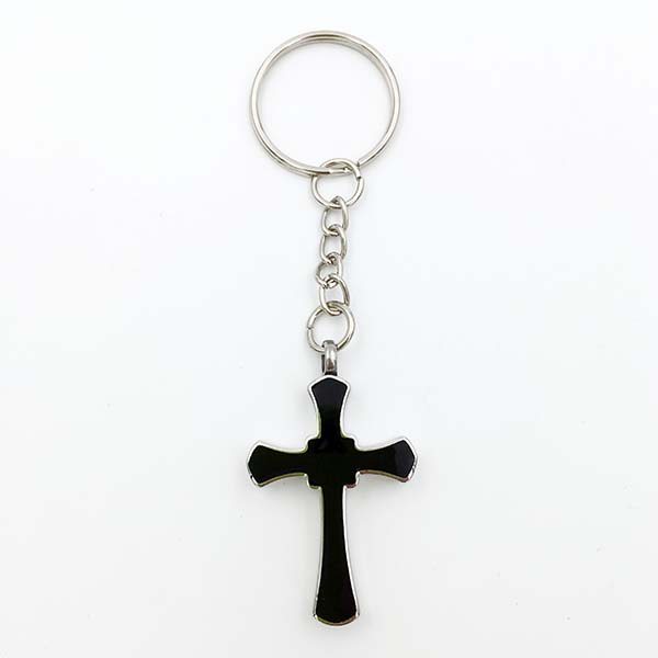 Black Cross Cremation Keychain