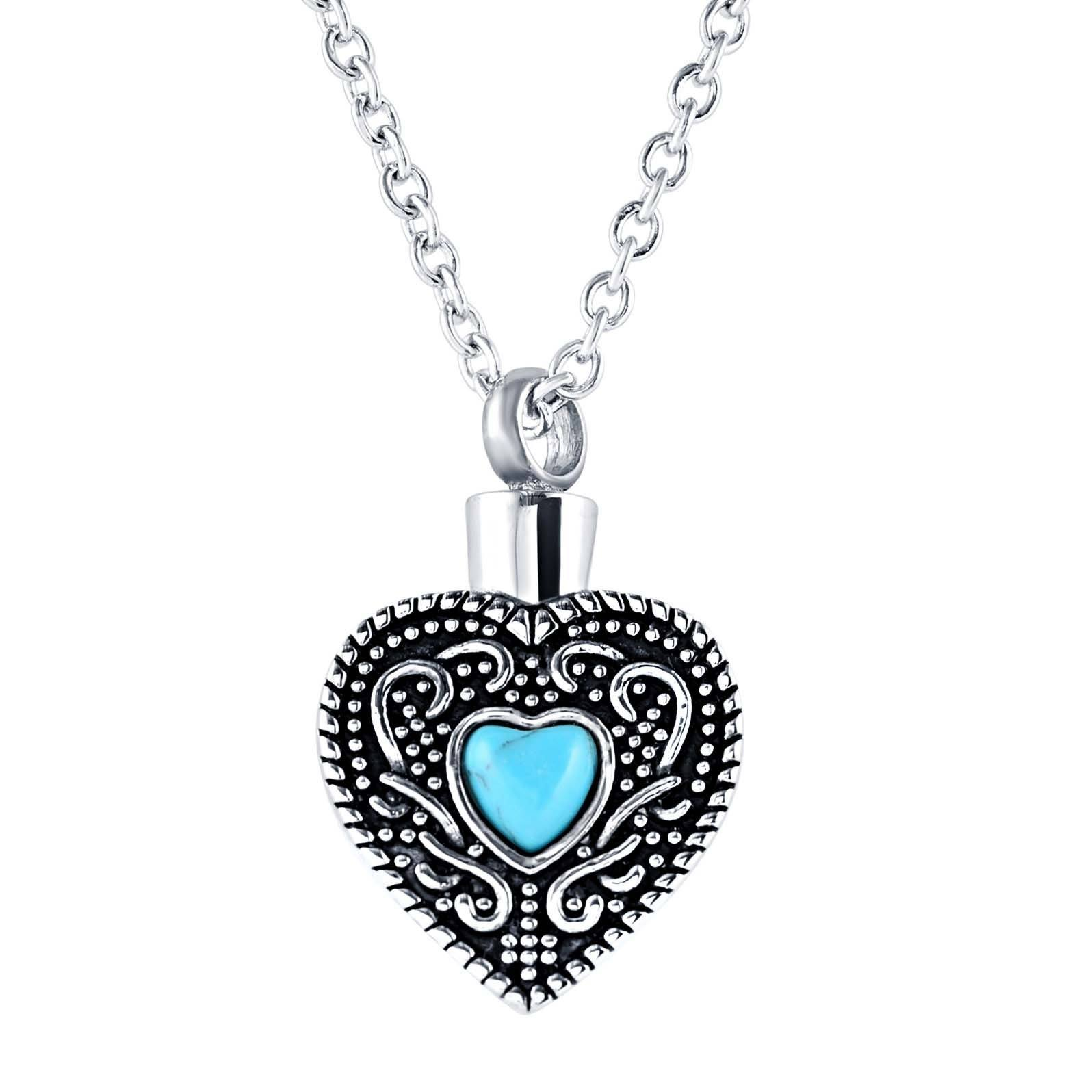 Blue Heart Cremation Necklace that holds Ashes